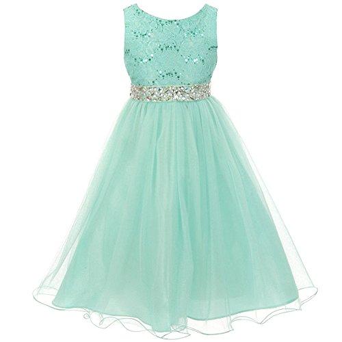 Big Girls Sleeveless Dress Glitters Sequined Bodice Double Layer Tulle Skirt Rhinestones Sash Flower Girl Dress Mint - Size 8