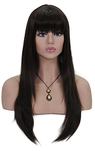 Cosplay Wigs for Women 24 Inches Long Straight Hair Extensions Full Head Dark Brown Wig with Bangs and Cap and Comb (SXL1414) (Dark brown)