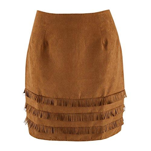 Haute Femme Patchwork Bureau Sexy Casual Jupe Mini Vintage Taille Ajust Elastique Eleery Extensible Casual Frange TqzI5Oxwx
