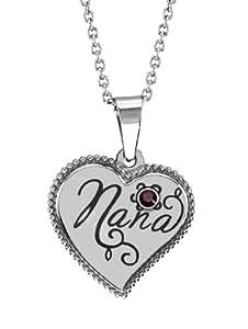 Stainless Steel Nana Heart Shaped Pendant January Birthstone