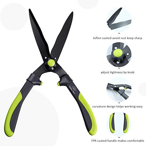 Rainbow Craft Ergonomic TPR Handle Hedge Shear, Bush Clipper - 17'' - Green Color