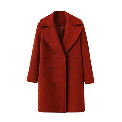 de Rojo moda de mujer OverDose abrigo suelta largo elegantes abrigos de botón lana de SH8xnqFU