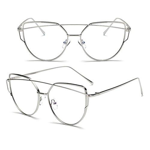 anti finement lunettes Inlefen Silver et armature élégantes métallique Des sans conçues Verres bleus optiques de force rqXx58X
