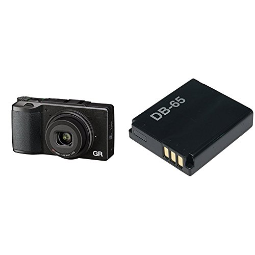 Ricoh GR II Digital Camera with 3-Inch LCD (Black) with DB-65 Li-Ion Battery for GR, GRII & WG-M1