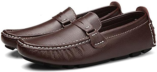 PPXID Mens Leather Slip-On Loafers Casual Driving Oxford Shoes Brown uuqzaZ22n