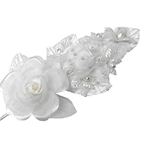 "3 White Silk Flowers Pearl & Organza Corsages 5""x 2.5"" with a Straight Pin 79"