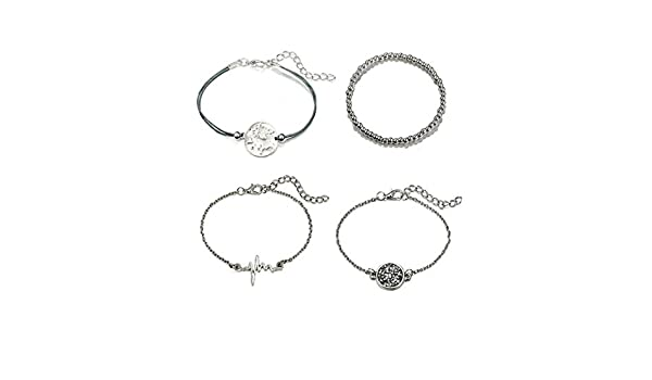 Graduation Gift,Heartbeat EKG ECG Bracelet CHENCAN01 Silver World Map Bracelet Travel Jewellery Gift Silver Bracelet