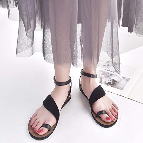Toe Sandalias Coolcept Negro Plano Mujer Moda Clip nq1xTt6AX1