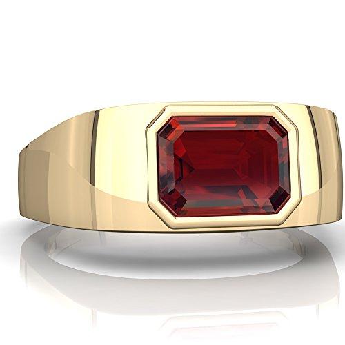 14K Yellow Gold Garnet Emerald_Cut Men's Ring - Size 9.5