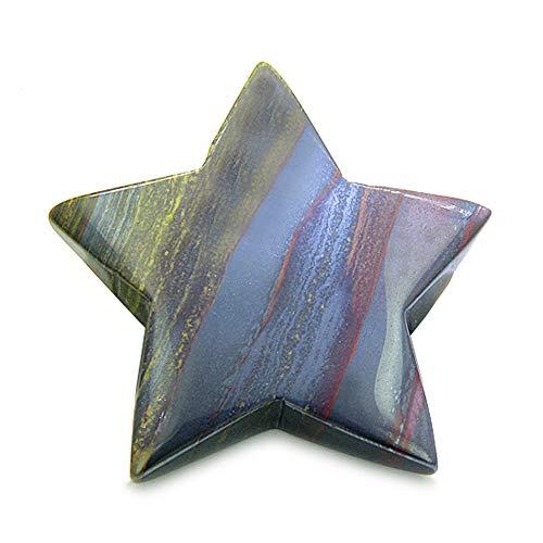 BestAmulets Amulet Magic Five Pointed Star Crystal Carving Tiger Eye Iron Gemstone Protection and Healing Powers Individual Keepsake Totem (Keepsake Stone)