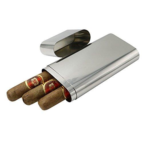 JUJOR Cigar Box Tube Grade 304 Stainless Steel (Silver)
