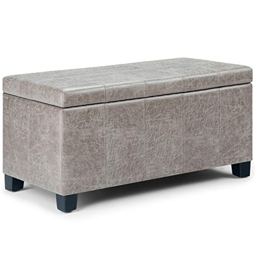 Simpli Home AXCOT-223-DTP Dover 36 inch Wide Contemporary  Storage Ottoman in Distressed Grey Taupe Faux Air Leather