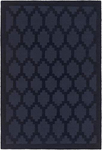 Yolo Modern Moroccan Trellis 3' x 5' Rectangle Solid & Border 100% Wool Navy Area - Border Navy Rug