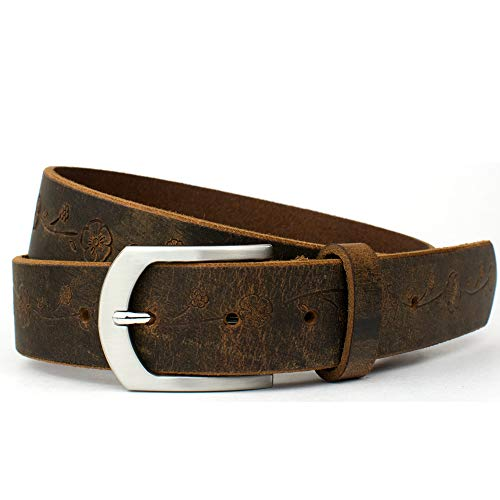 Distressed Rose Belt - Nickel Smart - Brown Full Grain Leather Belt with Floral Pattern & Nickel Free Buckle - 34