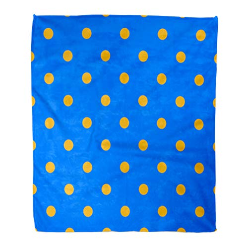- Semtomn Decorative Throw Blanket 50 x 60 Inches Pattern Polka Dot Mustard Yellow and Cobalt Blue Cornflower Warm Flannel Soft Blanket for Couch Sofa Bed