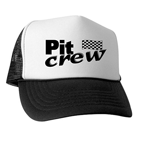 CafePress Pit Crew Racing Flag Trucker Hat, Classic Baseball Hat, Unique Trucker Cap Black/White