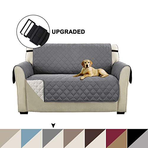 Turquoize Sofa Slipcover Reversible Couch Cover for Dogs Loveseat Slipcover Protector, Pet Cover for Loveseat Furniture Cover with Elastic Straps for Kids, Dogs, Cats, Pets (Loveseat - Gray/Beige) (Best Quality Reclining Sofa)