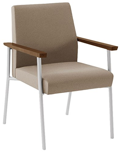 Lesro Mystic Guest Chair in Silver Frames with Walnut Arms, Core Seed