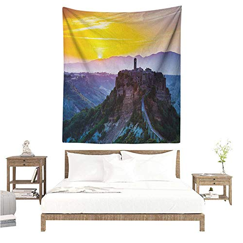 WilliamsDecor Decorative Tapestry Italian Old Historic Castle Town on Top of The Hills in Italian Renaissance at Sunset Print 51W x 60L INCH Suitable for Bedroom Living Room Dormitory