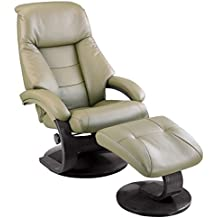 Comfort Chair Recliner With Ottoman In Top Grain Leather, Putty/Alpine