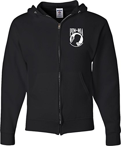 (Pow Mia Pocket Print Full Zip Hoodie, Black,)