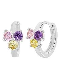 Rhodium Plated Flower Multicolor Crystal Small Huggie Hoop Girl Earrings 10mm