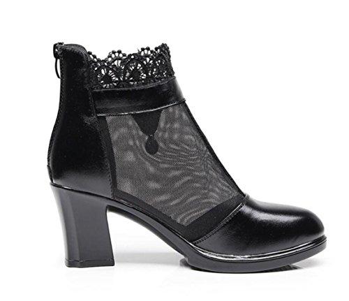 Linyi Heels Rhinestone High Heel Sandals Chunky Artificial Womens New Black Summer Hollow Mesh rPwqr54E