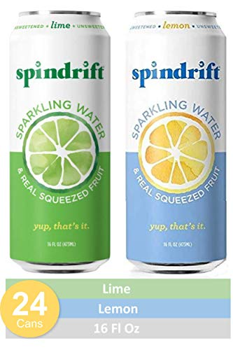 Spindrift Sparkling Water, Variety Pack, Lemon & Lime, Made with Real Squeezed Fruit, 16 Fluid Ounce Cans, Pack of 24