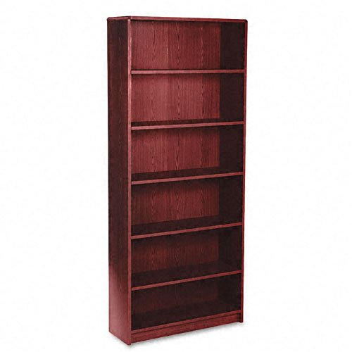 HON 1870 Series Bookcase, 6 Shelves, 36 W by 11-1/2 D by 84 H, Mahogany (84 Wood Bookcase)