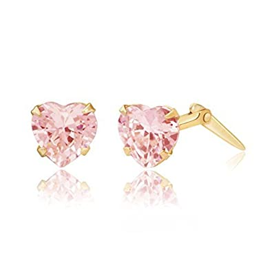 9ct yellow gold 5mm pink heart cubic zirconia Andralok stud earrings / Giftbox 16hFUqvL