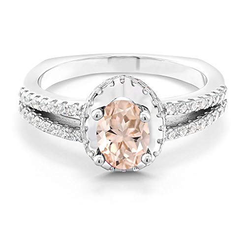 - Gem Stone King 1.15 Ct Oval Peach Morganite 925 Sterling Silver Ring (Size 7)
