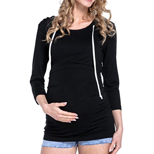 JOFOW Women Casual Long Sleeve Maternity Nursing Top for Pregnant Hoodies Blouse(S,Black) from JOFOW