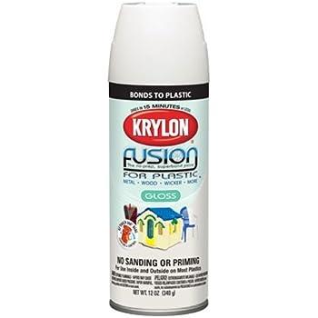 Krylon 2422 'Fusion for Plastic' Satin Dover White Plastic Paint - 12 oz. Aerosol