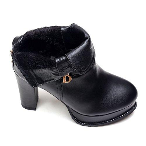 GTVERNH-Moda Con Una Spessa Impermeabile Spesso Sotto La Testa 10Cm Scarpe Zip Martin Scarpe Stivali Invernali 35 Black