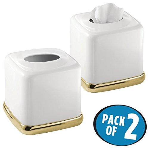 mDesign Square Facial Tissue Box Cover Holder for Bathroom Vanity Counter Tops, Bedroom Dressers, Night Stands, Desks and Tables - Pack of 2, Solid Steel Construction, White with a Soft Brass Base Bedroom Brass Dresser