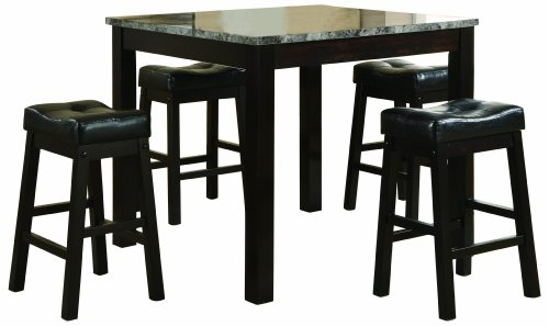 coaster-5-piece-dining-set-faux-marble-table-top-with-4-barstools-cappuccino-frame