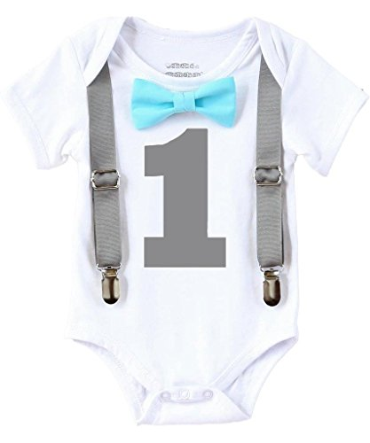 Noah's Boytique Baby Boys 1st Birthday Bodysuit with Bow Tie 12-18 M Aqua