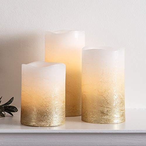 Lights4fun, Inc. Set of 3 Metallic Gold Ombre Flameless LED Battery Operated Wax Pillar Candles for Indoor Use (Ombre Gold)