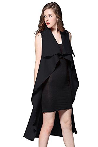 JYUAN+Women%27s+Lapel+Sleeveless+Long+Waistcoat+Blazer+Jacket+Vest+Cardigan+with+Belt+%28L%2C+Black%29