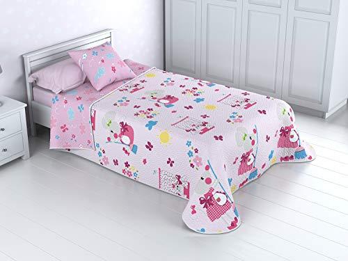 Cabetex Home - Colcha Bouti Infantil Reversible 100% con Funda de cojin y Tacto algodon Mod RATONA (Cama de 90 cm (180_x_260 c