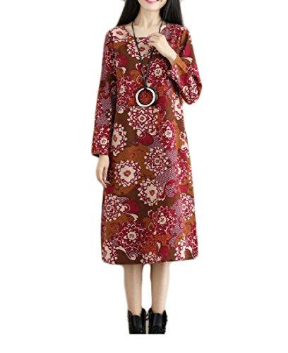 Del Vestito Addensare Velluto Coolred Più A Pattern10 donne Metà Tasche Lunghezza Stampato Etnica PqRvyxg