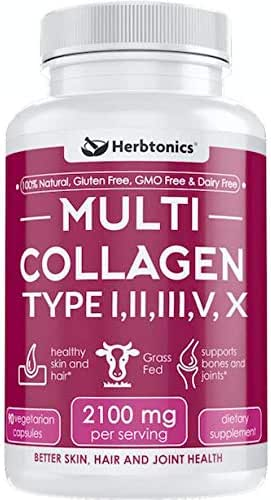 Multi Collagen Capsules (Types I, II, III, V & X) - Strong Joint Support Supplement Pills for Women Men Hydrolyzed Protein Peptide Grass fed Plus Bone Broth Type 1 2 3 5 10 Healthy Hair Skin Nails