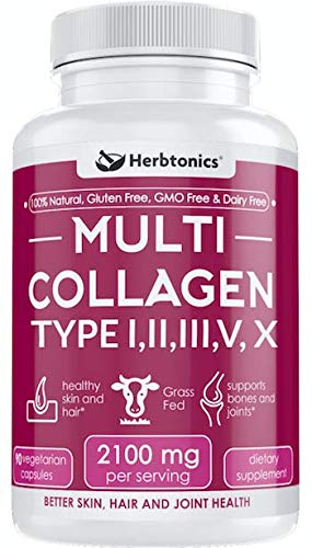 Multi Collagen Capsules (Types I, II, III, V & X) - Strong Joint Support Supplement Pills for Women Men Hydrolyzed Protein Peptide Grass fed Plus Bone Broth Type 1 2 3 5 10 Healthy Hair Skin Nails (Best Type Of Protein Supplement)