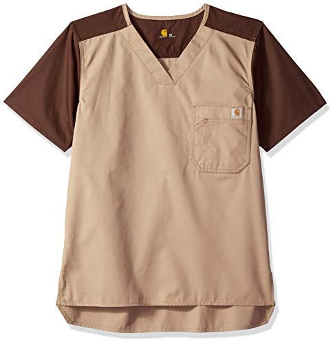 Mens Utility Scrub - Carhartt Ripstop Men's Color Block Utility Scrub Top, Khaki, 2X-Large
