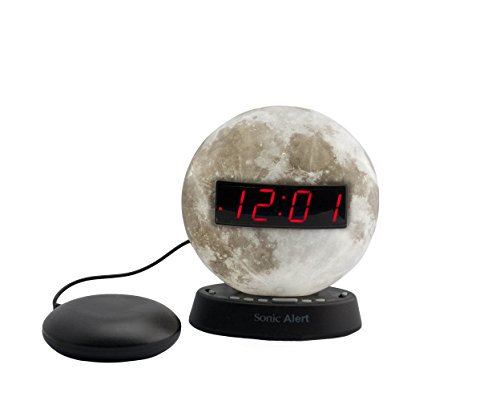 The Sonic Glow Moonlight Alarm Clock with recorable alarm and Sonic Bomb bed shaker