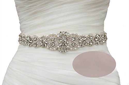 SoarDream Champagne Bridal Sash Belt Wedding Dress Belt and Sash with Rhinestone