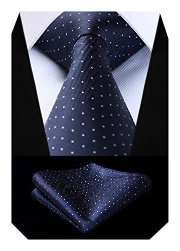 BIYINI Men's Polka Dot Tie Handkerchief Jacquard Woven Classic Men's Necktie & Pocket Square Set Navy Blue