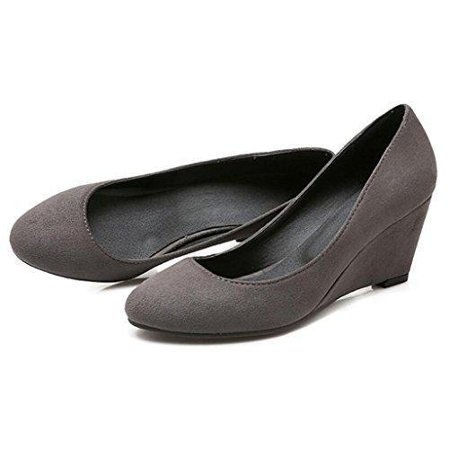 Chaussures Automne Profonde Talons Talon Pente Bouche Printemps Pour Femme De Tête Et Simple Gris Escarpins Femmes Peu Hauts Ronde Zvw4qnYEE