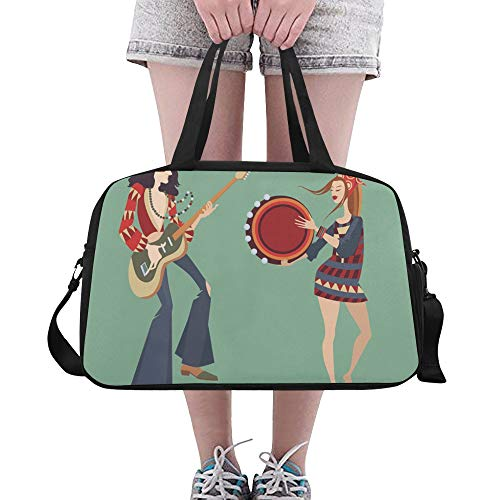 Duffel Bags Colorful Tambourine Suitable Gifts Crossbody Weekend Bag Casual Duffel Crossbody Bags For Student Dancer Fitness Camping School School Bag With Shoe ()