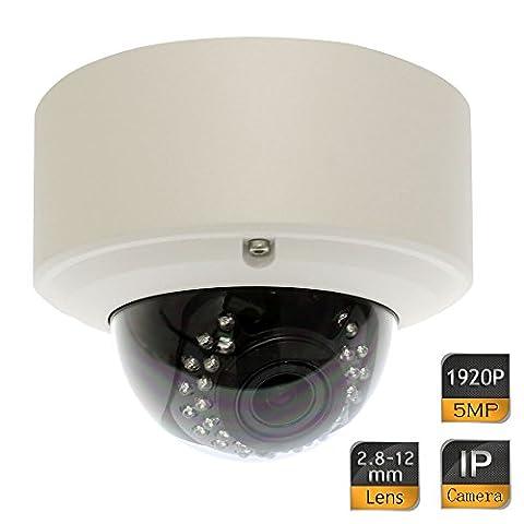 GW Security 5 Megapixel 2592 x 1920 Pixel Super HD 1920P Outdoor Indoor Network PoE Power Over Ethernet 1080P Security IP Camera with 2.8-12mm Varifocal Zoom (Waterproof Camera With Zoom)